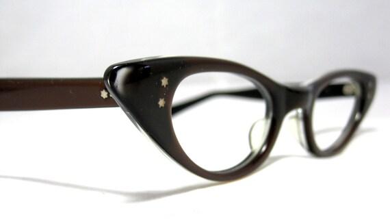Cat Eye Glasses. Vintage American Optical CatEye Frames. Chestnut Brown