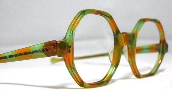 Vintage Eyeglasses. Octagonal Shape in green and orange. Boho Chic