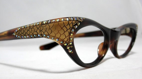 Vintage Cat Eye Glasses. Beautiful Tortoise with Rhinestones and Gold Snakeskin Designs