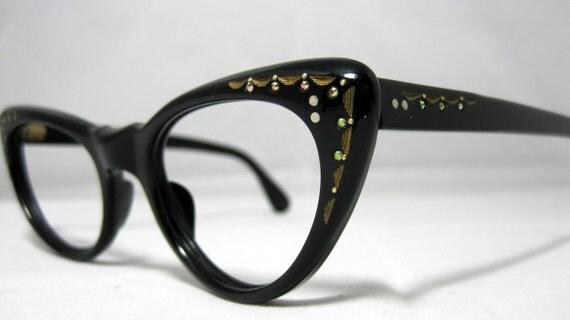 Vintage Cat Eye Glasses. Black Cat Eyes with Gold Designs and Rhinestones