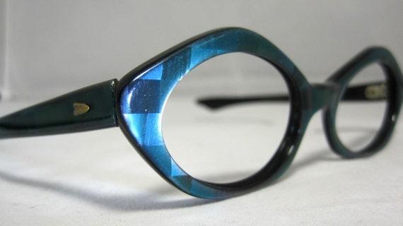 Vintage 60s Mod 3D Blue Cat Eye Glasses. Eyeglass Frames