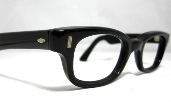 Vintage Mens Thick Horn Rim Black EyeGlasses. Clark Kent - Mad Men Style.