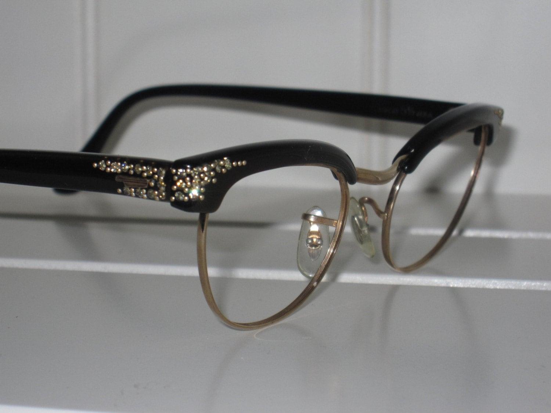 Vintage Rhinestone Cat Eye Eyeglass Frames. Shuron 12 karat