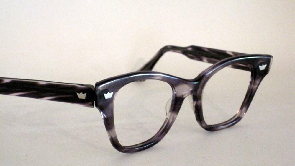 Vintage 50s 60s Horn Rim Eyeglass Frames. Clark Kent Style.