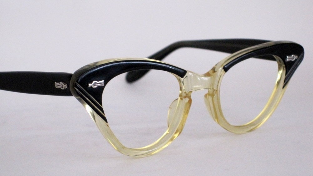 vintage eyeglasses cat eye style great shape with carved