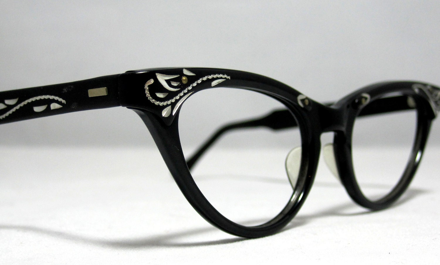 Vintage Cat Eye Glasses Frames. Black and Silver with Etched