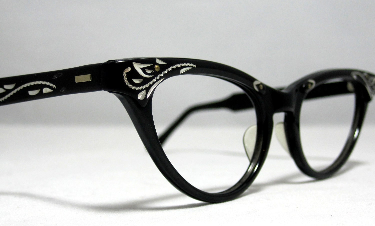 Cat Eye Frame Eye Glasses : Vintage Cat Eye Glasses Frames. Black and Silver with Etched