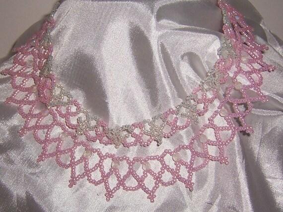 OOAK Hand Beaded Light Pink Mother Daughter Heart Necklace Set
