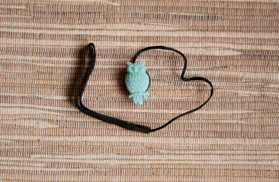 Aged Cyan Owl Lens Cap Keeper Strap for Cameras