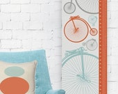 Canvas Growth Chart - Modern Nursery Decor - Vintage Bicycle