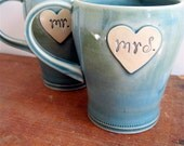 Reserved listing for Melissa - Newlywed Couple Mr. and Mrs. mug set In Frosty Blue