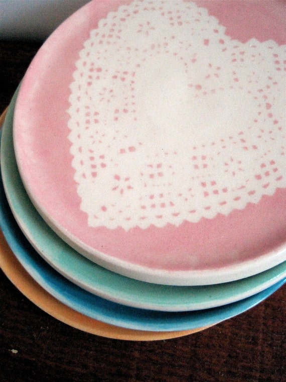 Doily Coaster Set of Four in Pretty Pastels
