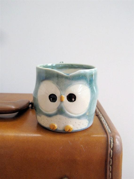Hooter Owl Mug (Tegan) in Frosty Blue Handmade Stoneware