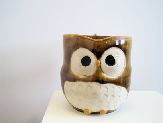 Hooter Owl Mug (Kayla) in Golden Honey Brown Handmade Stoneware