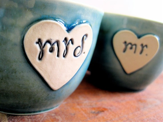 Newlywed Couple Mr. and Mrs. mug set In Frosty Blue Just Married- Ready to Ship