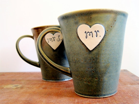 Newlywed Couple Mr. and Mrs. mug set In Bloobie freckle - Ready to Ship
