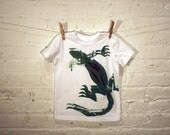Lizard Kids Tee 4T - Green Lizard on White American Apparel Tee Shirt / Toddler / live2lime