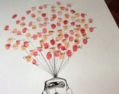 MEDIUM Guest book fingerprint BALLOON with love bug, (drawing with 3 ink pads)