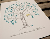 Fingerprint Tree Wedding Guest Book Alternative For baby, Original Hand-drawn Extra Small Elm Tree Design (with 2 ink pads)