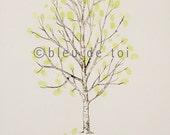 Fingerprint Tree Wedding Guest Book Alternative, Original Hand-drawn Medium Tall Birch Design (ink pads sold separately)