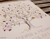 RESERVED (for anacarolina.cd-gmail.com) Guest book fingerprint tree, XLARGE twisted oak (drawing with 3 ink pads)