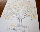 Fingerprint Tree Wedding Guest Book Alternative, Original Hand-drawn Large Cottonwood Design (ink pads sold separately)