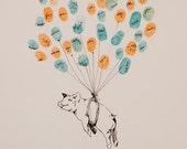 Piggy Pig with Thumbprint Balloon strings, Original Guest Book Fingerprint Balloon Art (drawing with no ink pads)