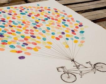 Thumbprint Balloon with Tandem Bike, original alternative wedding guest book fingerprint tree art (ink pads available separately)