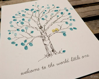 Fingerprint Tree Wedding Guest Book Alternative For baby, Original Hand-drawn Extra Small Elm Tree Design (with 2 mini ink pads)