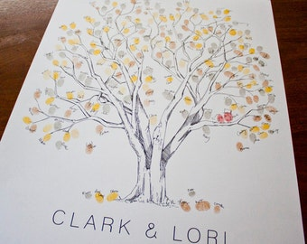 Large Cottonwood, THE Original Fingerprint Tree, Wedding Guest Book Alternative, Original Design, thumbprint tree, (ink pads sold separate)