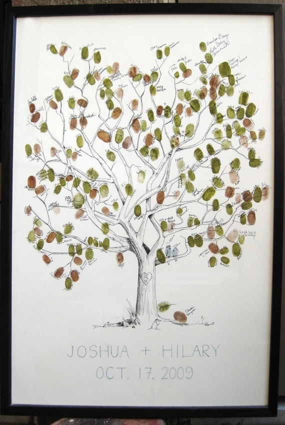 RESERVED (for bdalo) Guest book fingerprint tree - size large HAND DRAWN (drawing with 4 inks)