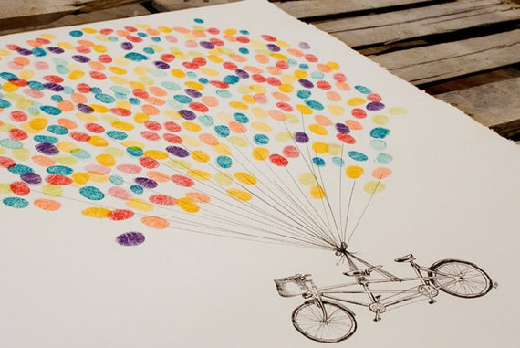 Guest book fingerprint BALLOON kit, hand drawn tandem bike for up to 300 guests, XL (with 3 ink pads)