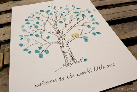 Small Elm, Baby Shower guest book, THE Original Fingerprint Tree, similar to wedding fingerprint tree (with two mini ink pads)
