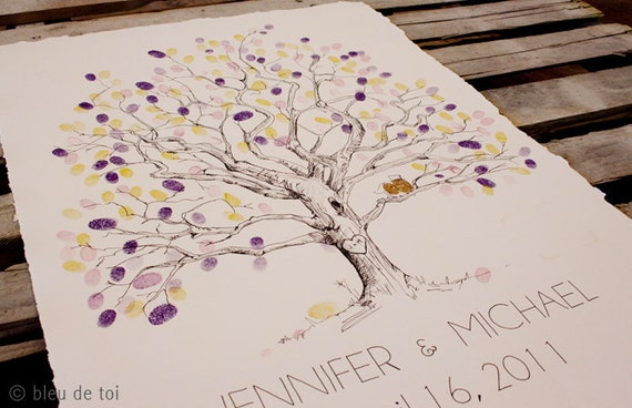 RESERVED (for durbinl) Guest book fingerprint tree, LARGE twisted oak (drawing with 4 ink pads)