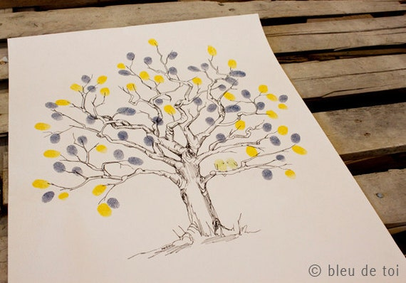 RESERVED (for ellapyne) rush Guest book fingerprint tree, hand drawn Small twisted oak (guestbook drawing with 2 inks)