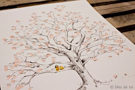 RESERVED (for jctpm) MEDIUM Guest book fingerprint twisted oak tree, hand drawn design (drawing with no ink pads)