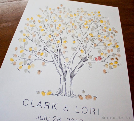 RESERVED (for agrossdesigns-gmail.com) Guestbook fingerprint tree, size MEDIUM Cottonwood with tandem by tree (drawing with 5 ink pads)
