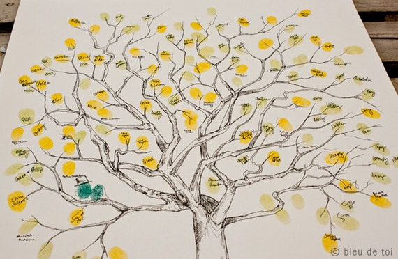 RESERVED (for jennafujimoto) Guest book fingerprint tree, MEDIUM great oak (guestbook drawing with 3 ink pads)