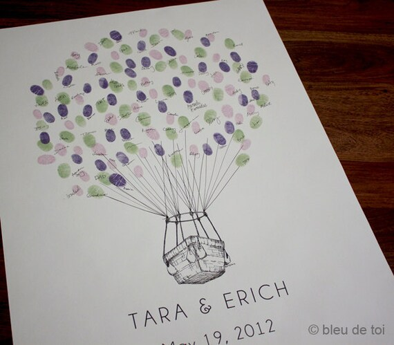 RESERVED (for rosachang) Rush SMALL Guest book fingerprint BALLOON with hot air basket (drawing with 7 ink pads)