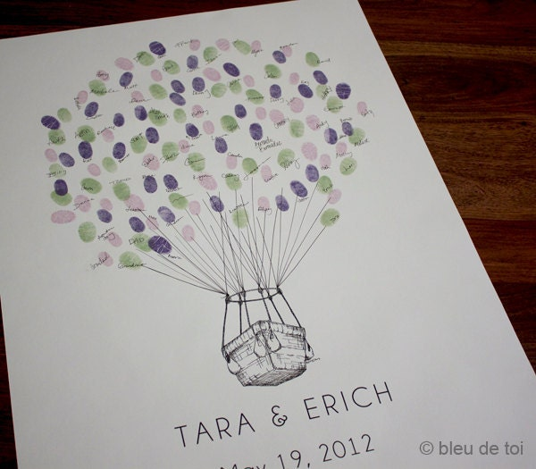 Small Fingerprint Live Oak Tree Wedding Guest Book Hand Drawn: RESERVED For Austin SMALL Guest Book Fingerprint BALLOON