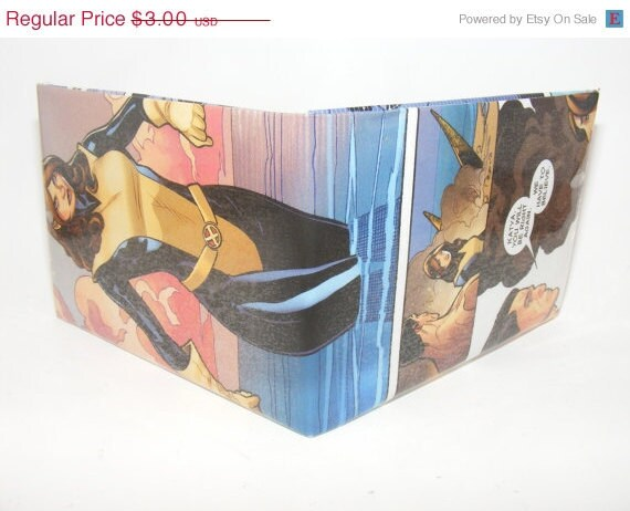 New Years Weekend Sale// Comic Book Wallet// X-Men// Kitty Pryde and Colossus