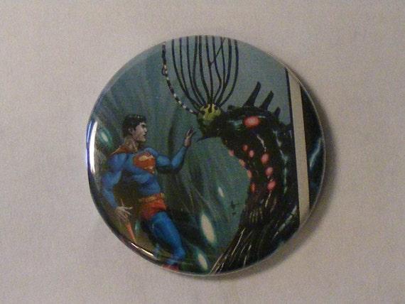 "Comic Book 1.5"" Button// Superman meets Braniac"