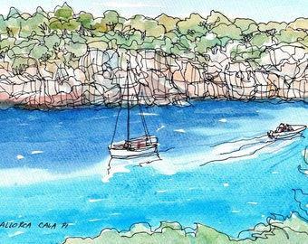 Mallorca Cala Pi art print from original watercolor painting
