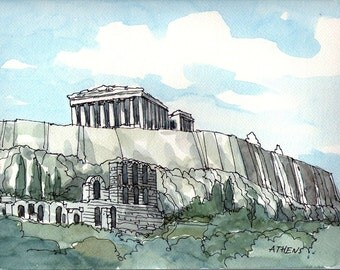 Athens  Acropolis art print from an original watercolor painting