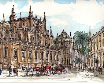Seville Spain art print from an original watercolor painting