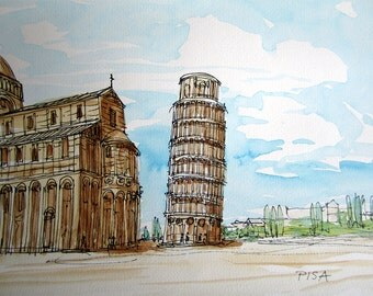 Pisa Leaning Tower Italy art print from an original watercolor painting