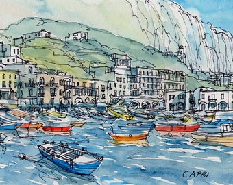 Capri Port  Italy art print from an original watercolor painting