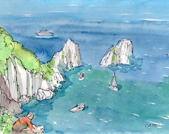 Capri Rocks Italy art print from an original watercolor painting