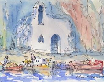 Crete  Agios Nikolaos Greece art print from an original watercolor painting