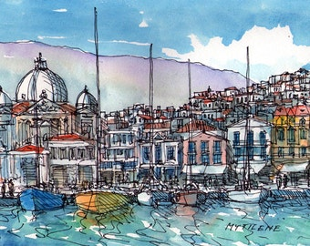 Mytilene Greece art print from an original watercolor painting